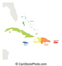 Caribbean Region. Colorful map of countries in Caribbean Sea in Central America. Vector illustration
