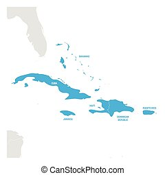 Caribbean Region. Map of countries in Caribbean Sea in...
