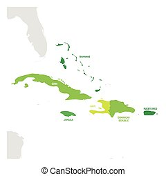 Caribbean Region. Map of countries in Caribbean Sea in...