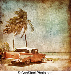 Resort - Caribbean Resort on the Old Paper Style Photo. ...