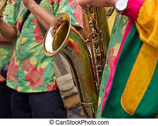 Caribbean Samba style saxophone player