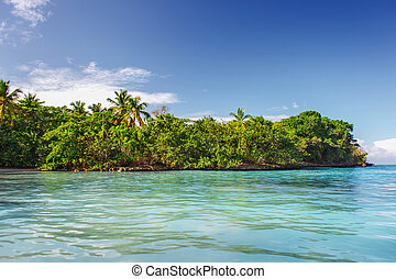 Caribbean scenic landscape, tropical green island in the blue sea