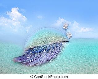 caribbean sea eye makeup metaphor turquoise beach