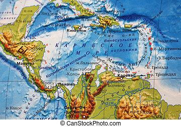 Caribbean Sea - Part of a map. Caribbean sea