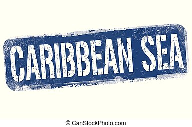 Caribbean sea sign or stamp on white background, vector...