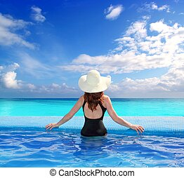 Caribbean sea view from blue pool rear woman