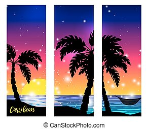 Caribbean sea view with palm silhouettes - Caribbean sea...