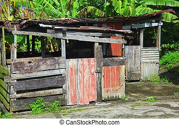 Caribbean shack. - Caribbean shack on display outside.