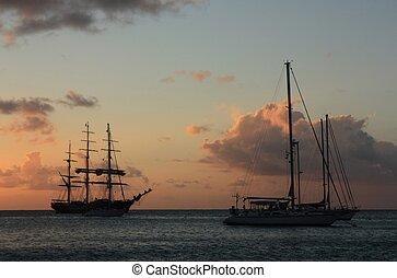 Caribbean sunset and ship