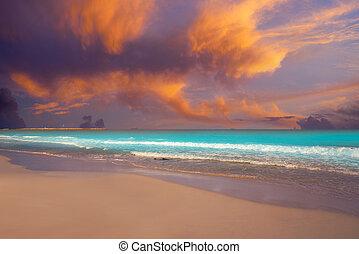 Caribbean sunset beach in Riviera Maya