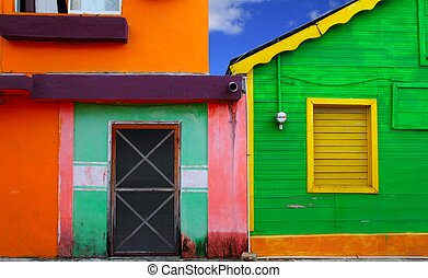 caribbean, színes, mujeres, tropikus, épület, isla