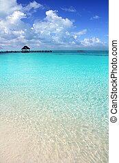 Caribbean tropical beach cabin pier Contoy island Mexico