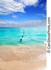 Caribbean tropical turquoise beach blue sky