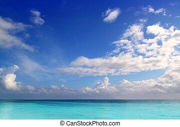 caribbean, tropikus, türkiz, tengerpart, kék ég