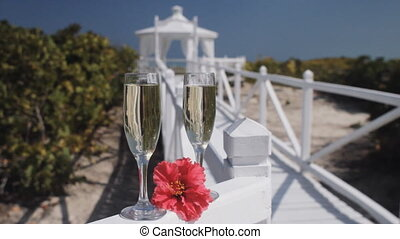 Caribbean Wedding - Two Champagne Glasses Ready For A...