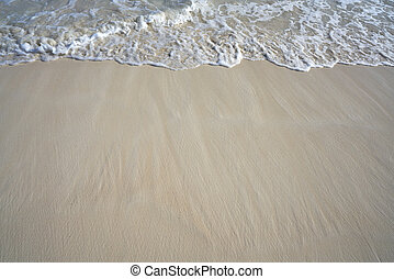 Caribbean white sand shore wave foam
