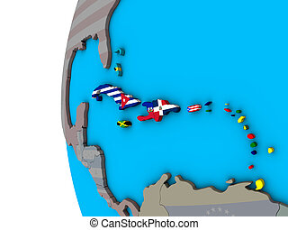 Caribbean with flags on 3D globe