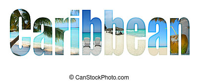Caribbean with tropical theme letters - Caribbean type with...