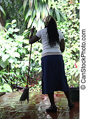 Caribbean worker. - Caribbean female working at a business...