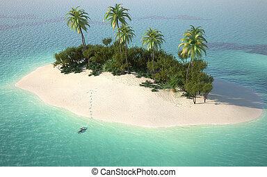 caribbeanl, synhåll, antenn, öde ö