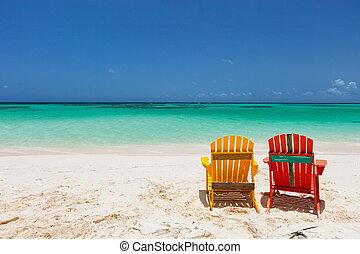 caribe, colorido, sillas, salón, adirondack, playa