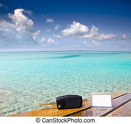 caribe, llaves, coche, vacaciones, madera, tabla, alquiler