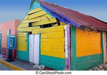 caribe, mexicano, grunge, colorido, casa