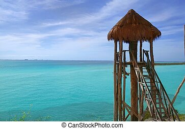 caribe, mujeres, méxico, de madera, mar, isla, cabaña