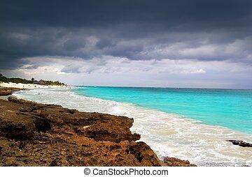 caribe, tormenta, huracán, tropical, mar, principio