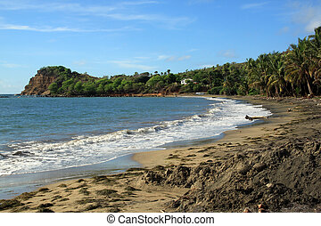 Sand beach on the coast of caribean island Grenada