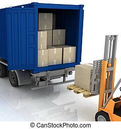 caricamento, contenitore, isolato, scatole, fondo, bianco