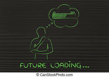 caricamento, &, testo, pensiero, persona, futuro, progresso, bolla, sbarra