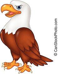 caricatura, águila, posar, aislado