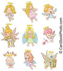 caricatura, ángel, icono