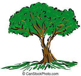caricatura, árbol