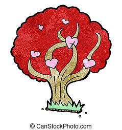 caricatura, árbol, con, corazones