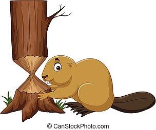 caricatura, árbol, corte, castor