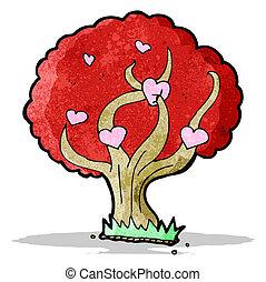 caricatura, árvore, com, corações