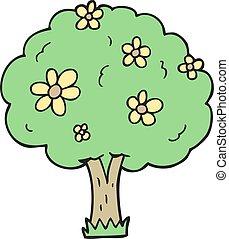 caricatura, árvore, com, flores