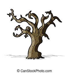 caricatura, árvore inverno