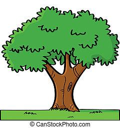 caricatura, árvore
