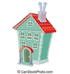 caricatura, ático, blanco, dos, ilustración, plano de fondo, casa, piso, tubos, objeto, aislado, vector