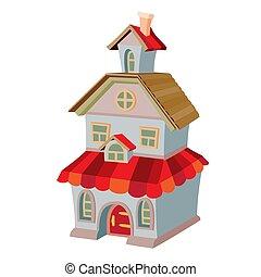 caricatura, ático, rojo, techo, blanco, dos, ilustración, plano de fondo, casa, piso, objeto, aislado, vector