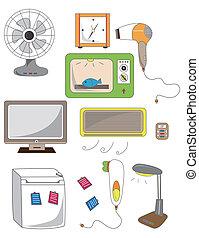 caricatura, ícone, dispositivo, lar