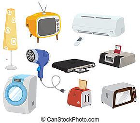 caricatura, ícone, eletrodomésticos, lar