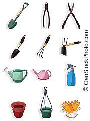 caricatura, ícone, jardinagem
