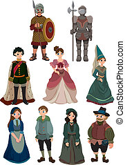 caricatura, ícone, pessoas, medieval