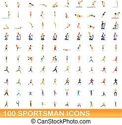 caricatura, 100, conjunto, estilo, iconos, deportista