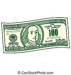 caricatura, 100, conta, dólar