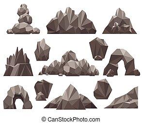 caricatura, 3d, rocha, e, pedra, jogo